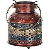 Gift Articles Iron Tea Light Candle Holder Can (13 Cms X 13 Cms X 15 Cms, Multi-Coloured)