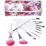 Joly Professional Cosmetics Kits 12 Pcs Makeup Brush Set With Flower Brush Holder Case (White & Pink)