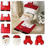 Generic Red : 3 Pcs/set Santa Claus Toilet Seat Cover And Rug Bathroom Set Christmas Decoration Enfeites De Natal...