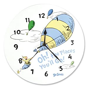 Dr.Seuss Oh! The Places You'll Go Wall Clock, Blue