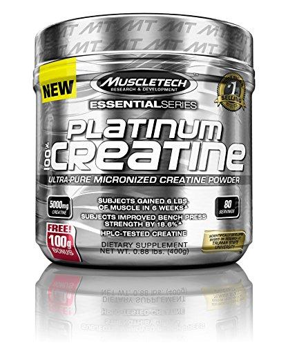 MuscleTech Platinum 100{0ad59209ba3ce7f48e71d4a0dc628eee9b107ea7079661ded2b3bda89b047a8b} Creatine, Ultra-Pure Micronized Creatine Powder, 80 Servings, 0.88 lbs (400g)