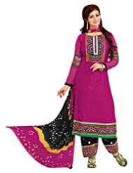 Surat Tex Pink Color Casual Wear Embroidered Satin Cotton Semi-Stitched Salwar Suit