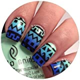 Original Tribal Aztec Pattern Stencils Nail Vinyls, Tape, Guides, Stickers For Easy Nail Art By Twinkled T Sheet...