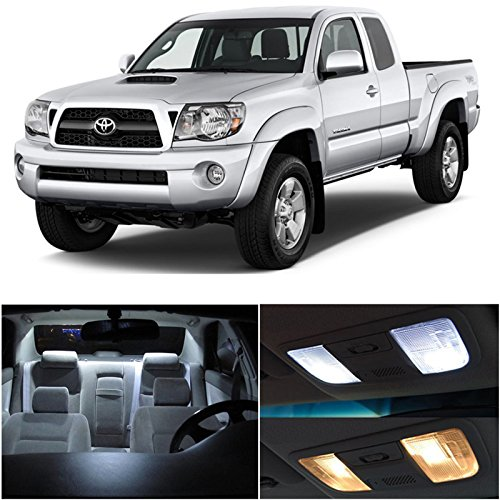 LEDpartsNow Toyota TACOMA 2005-2015 Xenon White Premium LED Interior Lights Package Kit (7 Pieces) + Install Pry Tool