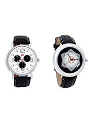 Gledati Men's White Dial And Foster's Women's Black Dial Analog Watch Combo_ADCOMB0001852
