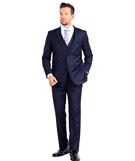 Mens Suit 2 Button 3 Piece Slim Fit 36S Navy