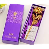 Occasions Great Valentine's Gift 24K Gold Rose With Gift Box And Carry Bag - Best Gift For Loves Ones, Valentine's Day, Mother's Day, Anniversary, Lover's Flower Gold Dipped Rose With Gift Box For Women Girls With Gift Box And Carry Bag (BUY ONE GET ONE)