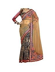 Bhavi Embroidered Embellished Half Net Half Crepe Saree