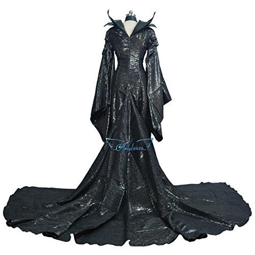 Halloween 2017 Disney Costumes Plus Size & Standard Women's Costume Characters - Women's Costume Characters Women's Halloween Cosplay Show Long Black Dress Costume (Standard & Plus Size XXS-3XL)