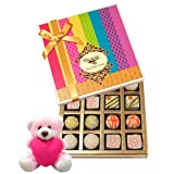 Valentine Chocholik Premium Gifts - Delicate Collection Of White Truffles With Teddy