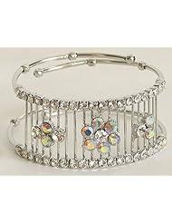 White Stone Studded Cuff Bracelet - Metal