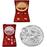 Gold Plated GL Pooja Thali Set,Silver Plated Royal Pooja Thali Set With Ganesh Laksmi And Silver Plated GL 8 Inchi...