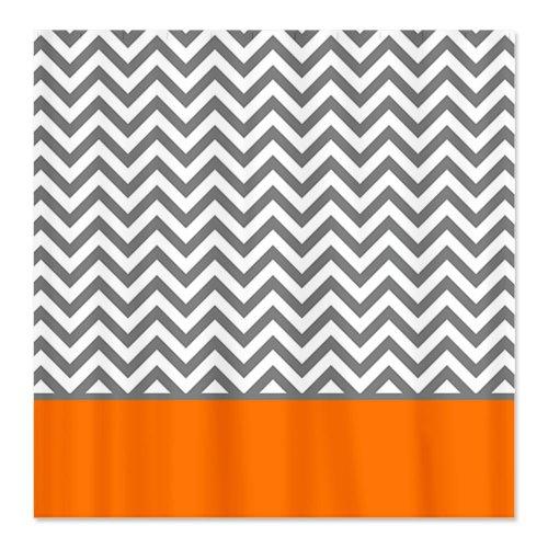 Gray Chevron Pattern Orange Stripe