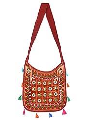 Rajrang Stylish Cotton Embroidered Circles Maroon Sling Bag