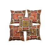 Rajrang Off White Cotton Applique Border With Mirror Patch Cushion Cover Set Of 5 Pcs #Ccs02500