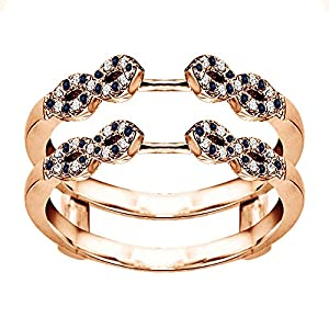 0.38CT Diamond and Sapphire Infinity Ring Guard Enhancer set in Rose Gold Plated (0.38CT TWT G-H I1-I2 Diamond and Sapphire)