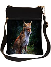 Snoogg Abstract Unique Fox Cross Body Tote Bag / Shoulder Sling Carry Bag