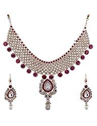 Lucky Jewellery Rani Pink Guluband Necklace Set With Mang Tika For Women
