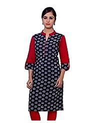 Adesa Women's Cotton Self Print Regular Fit Kurti - B00VHSF7UC
