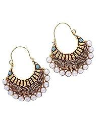 Ethnic Bollywood Inspired Blue & Golden Hoop Earrings By Shining Diva