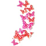 Rainyway 36pcs 3d Butterfly Wall Sticker, Beautiful White Spots Flower Butterfly Decor Wall Decals, Removable...