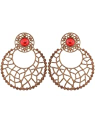 Grandiose Chaand Bali Filigree Antique Rhodium Plated Red Earring For Women