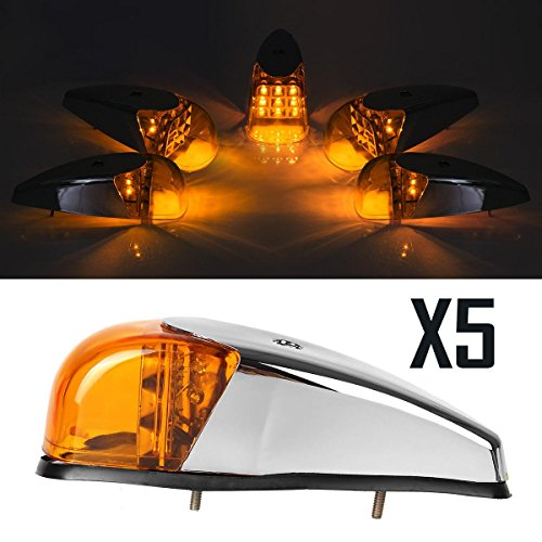 Partsam (Pack of 5pcs) Universal VS-L157Y-9 LED bright Clearance Roof Running Cab Marker Amber Light