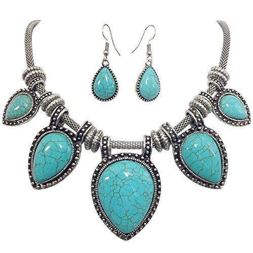 Halloween 2017 Disney Costumes Plus Size & Standard Women's Costume Characters - Women's Costume CharactersTeardrop Simulated Turquoise Silver Tone Western Southwestern Look Statement Necklace & Earring Set