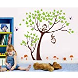 Pop Decors Removable Vinyl Art Wall Decals Mural For Nursery Room, Monkeys Party (Orange)