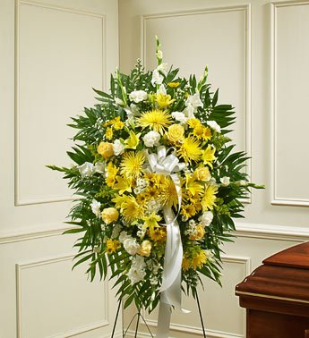 1-800-Flowers - Deepest Sympathies Yellow Standing Spray - Small
