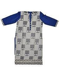 Amoli Women's Cotton Kurta (CCP_#10, Blue & Black)