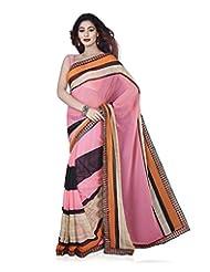 Aadarshini Women's Georgette Saree (4081, Pink And Beige)