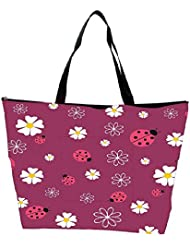 Snoogg Spring Seamless Pattern With Flowers And Ladybirds Waterproof Bag Made Of High Strength Nylon