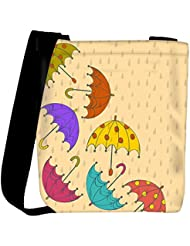 Snoogg Abstract Rainy Season Background With Rain Drops And Colorful Umbrellas Womens Carry Around Cross Body...
