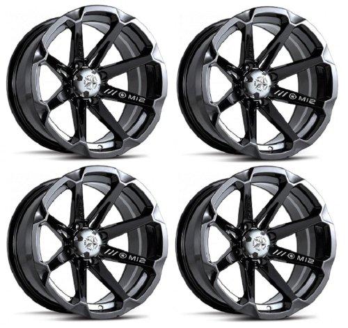 MSA M12 Diesel ATV Wheels/Rims Black 14″ Honda Foreman Rancher SRA Solid Axle(4)