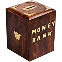 Wooden Piggy Bank Safe Money Box Savings With Lock Wood Carving Handmade Unique Gifts For Kids Boys Girls And...