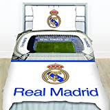 Real Madrid Stadium Duvet Single Official Football Club Tag Cover Bedding White