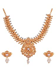 Ganapathy Gems 1 Gram Gold Plated Traditional Necklace Set With White Stones And Pearls - B00XZ921QY