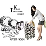 King International Stainless Steel Silver Diwali,Dhanteras Special Dinner Set - Set Of 24 Pieces