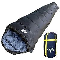 丸洗いOK White Seek 寝袋 シュラフ マミー型 耐寒温度 -15℃ コンパクト収納 オールシーズン(ブラック)