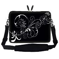 17 Inch White Swirl Design Laptop Sleeve Bag Carrying Case With Hidden Handle & Adjustable Shoulder Strap For...