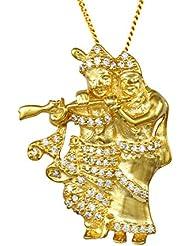 Exxotic Jewelz Designer Sterling Silver Religious Radha Krishna Pendant Necklace For Men & Women