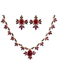 Gehna Ruby & Emerald Stone Studded Necklace & Earring Set. Yellow Gold Rhodium