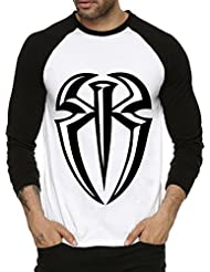 Fanideaz Roman Reign Plain WWE Round Neck Raglon Tshirts For Men