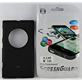 FCS Ruberrised Silicon Back Case For Nokia Lumia 1020 In Matte Finish With Screen Guard-Black