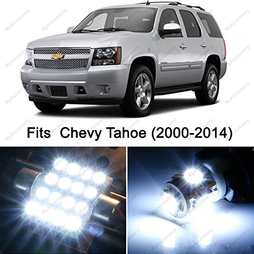 14 x Premium Xenon White LED Lights Interior Package Upgrade for Chevy Chevrolet Tahoe (2000-2014)