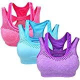 Yolev Sports Bra Double Layer Seamless Workout And Gym Racerback Yoga Bra Pack Of 3