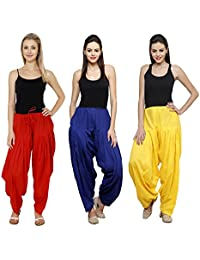 Pistaa Combo Of Womens Solid Cotton Red, Royal Blue And Yellow Ethnic Best Indian Readymade Punjabi Bottom Patiala...