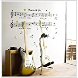Music Sticker Music Is My Life Theme Music Bedroom Decor & Dancing Music Removable Wall Sticker (70*120cm)