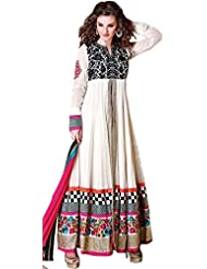 Exotic India Egret-White Anarkali Suit With Ari Embroidery And Sequins - White